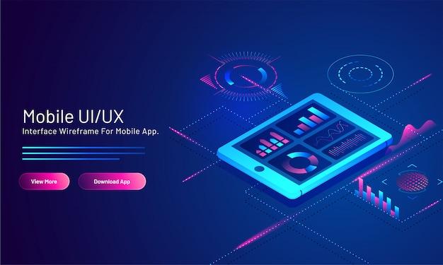 Mobile ui / ux basierte entgegenkommende netzfahne mit beweglichem app-schirm der analyse auf blauem digitalem.