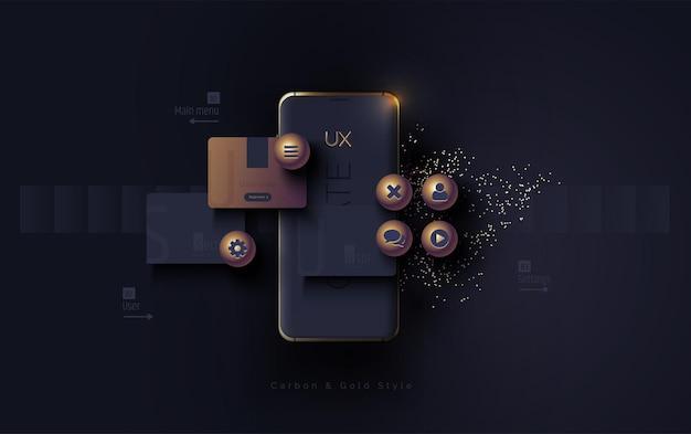 Mobile ui ux korbon und gold-konzept