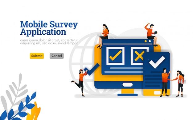Mobile umfrageanwendung, zum zu wählen, auf der übersichtsvektorillustration zuzustimmen und abzulehnen