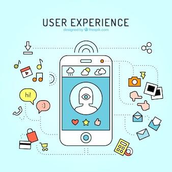 mobile und web elemente der benutzererfahrung in linearen stil