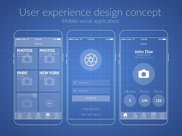 Mobile ux-designkonzept mit bildschirmsymbolen und webelementen zur illustration sozialer anwendungen
