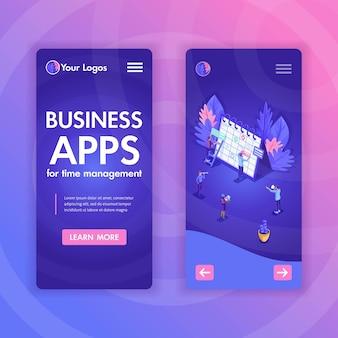 Mobile vorlagen für websites für geschäftsanalysen und virtuelle technologien. illustrationskonzepte für smartphone-app