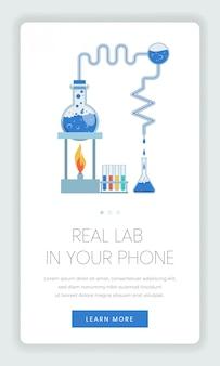 Mobile webseitenvorlage für online-labors