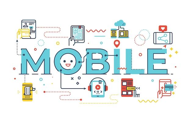 Mobile wortbeschriftungsillustration