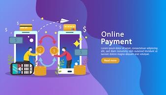 Mobile Zahlungs- oder Geldüberweisungskonzept. Online-Markteinkaufsillustration.