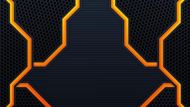 Mobileabstract 3d schwarzer technologiehintergrund überlappt schichten auf dunklem raum mit orangefarbener lichteffektdekoration. moderne grafikdesign-vorlagenelemente für poster, flyer, broschüren oder banner