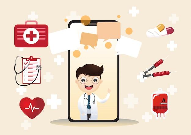 Mobiler arzt. lächelnder doktor auf dem telefonschirm. medizinische internetberatung. web-service für gesundheitsberatung. krankenhausbetreuung online.