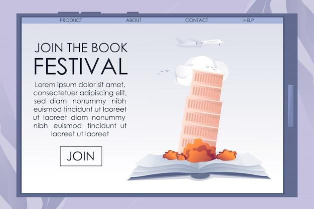 Mobiler bildschirm mit werbebuch festival banner