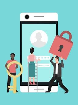 Mobiler datenschutz. telefonsicherheit, datenschutz mit passwort. frau und männer schützen die privatsphäre des telefons