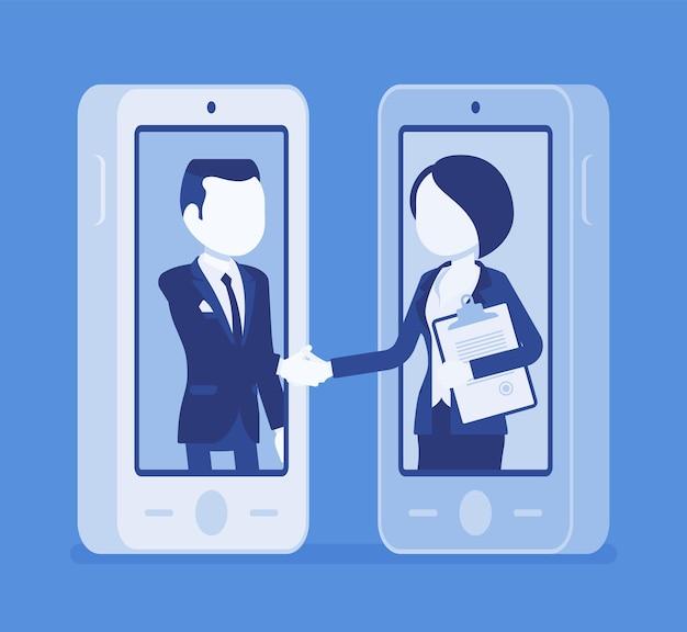 Mobiler deal für männer, frauen, kommerzielle geschäftsvereinbarung
