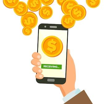 Mobiler dollar, der konzept empfängt