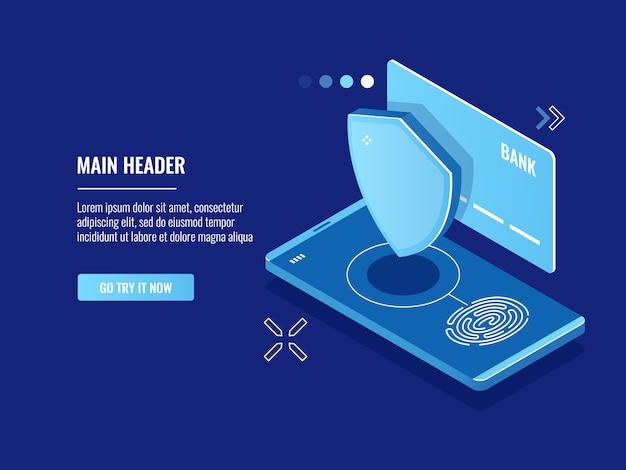 Mobiler gerätezugriff mit fingerprint-system, online-bezahlung mit touch