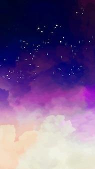 Mobiler hintergrund mit sternenklarem himmel und purpurroten tönen