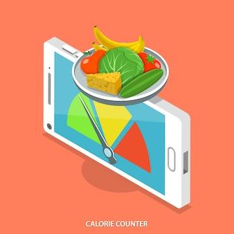 Mobiler kalorienzähler. Premium Vektoren