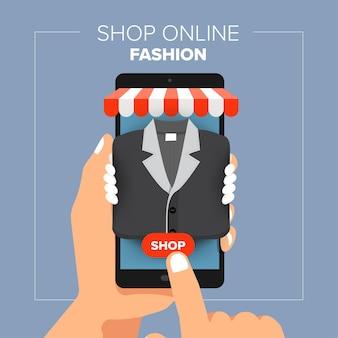 Mobiler online-shop des illustrations-flachdesignkonzepts. hand halten mobilen verkauf mode einkaufen.