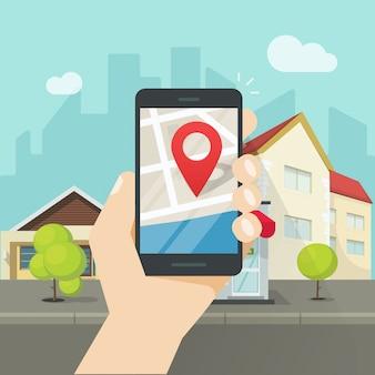 Mobiler stadtplanstandort oder smartphone gps-navigator in der flachen karikatur des stadtvektors