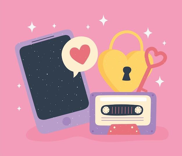 Mobiler vorhängeschlossschlüssel und kassettenliebe und -romantik in der karikaturartillustration