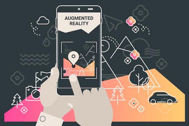 Mobiles app-konzept des augmented-reality-stadttourismus