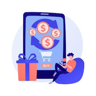 Mobiles banking. geld von einkäufen zurückgeben. führen sie finanztransaktionen remote mit mobilen geräten durch.