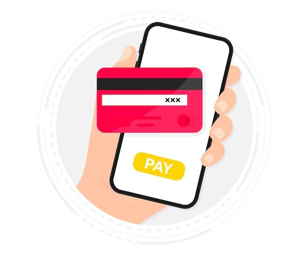 Mobiles bezahlen. smartphone mit online-zahlung. kreditkarte auf dem bildschirmtelefon. online einkaufen. nfc-zahlungen. banking, finanz-app und e-payment. bezahlen sie drahtlos mit kreditkarte über die elektronische geldbörse