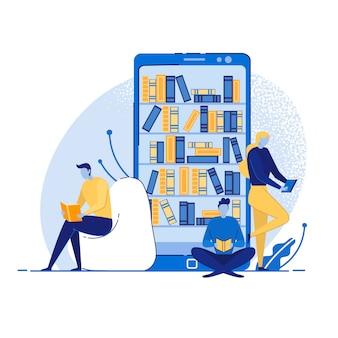 Mobiles bibliotheks-onlinekonzept, bücher lesend.