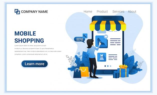 Mobiles einkaufen mit dem riesigen handy und frau, die produkte wählen.