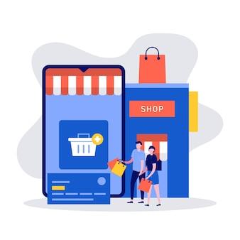 Mobiles einkaufskonzept mit charakteren, großem smartphone und geschäft.