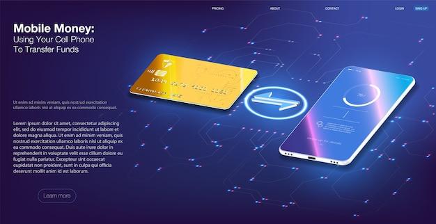Mobiles geld mit ihrem handy zum überweisen von geldern, mobiltelefonen und internetbanking
