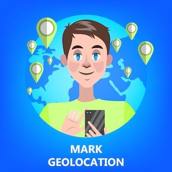 Mobiles gps-navigationskonzept. idee moderner technik