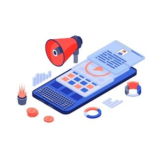 Mobiles marketing, isometrische darstellung von werbeinhalten. ansprechende inhalte, seo-texte. texterstellung und online-werbung. werbekampagne auf smartphone isoliert 3d-konzept