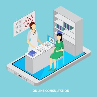 Mobiles medizinkonzept mit isometrischer darstellung der online-beratungssymbole