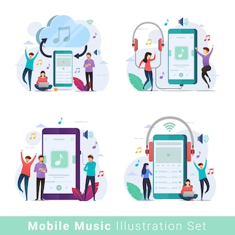 Mobiles musik-player-illustrationsset