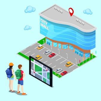 Mobiles navigations-isometrisches konzept. tourist, der stadt-mall mithilfe des tablets sucht. vektor-illustration