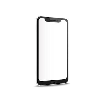 Mobiles oder smartphone mit realistischem modell des leeren touchscreens lokalisiert auf weißem hintergrund. konzept des kontaktgeschäfts oder des personenkommunikationsgeräts.