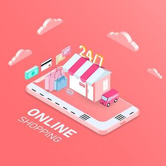 Mobiles online-shopping-konzept