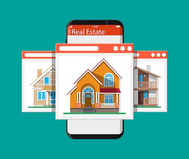 Mobiles smartphone mit immobilien-app