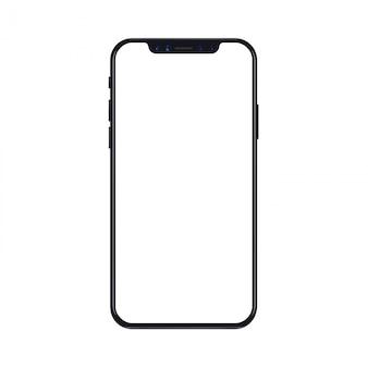 Mobiles smartphonetelefonmodell lokalisiert auf weißem hintergrund mit leerem bildschirm