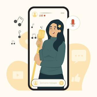Mobiles streaming-konzept singen eine liedillustration
