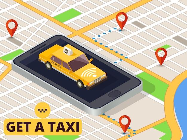 Mobiles taxi. online-taxiservice und bezahlung mit smartphone-app auf stadtplan