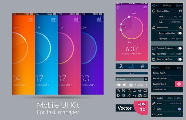 Mobiles ui-kit für task-manager auf heller flacher illustration