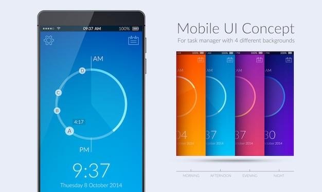 Mobiles ui-kit-konzept für task-manager mit vier verschiedenen farbigen flachen abbildungen