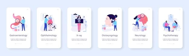 Mobiles web-banner-konzept für augenarzt und röntgen, gastroenterologie. idee einer medizinischen behandlung im krankenhaus. illustration