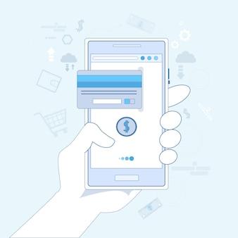 Mobiles zahlungs-handgriff-zellintelligentes telefon mit kreditkarte-vektor-illustration