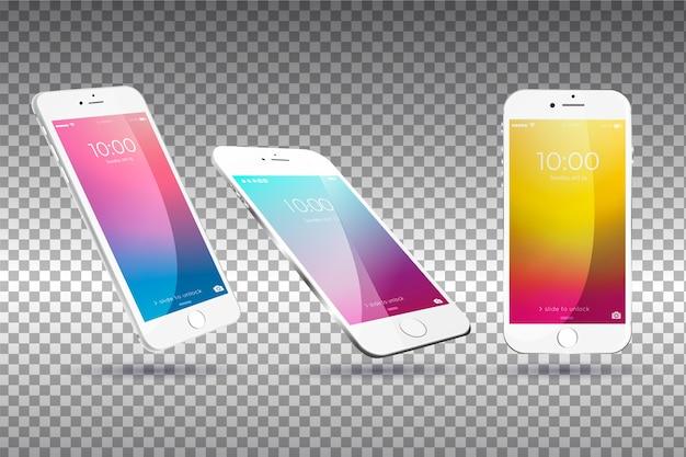 Mobilgerät in verschiedenen ansichten