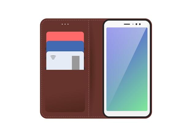 Mobilgerät smartphone mit offener und geschlossener brauner genähter lederhülle plastik-bankkarten in
