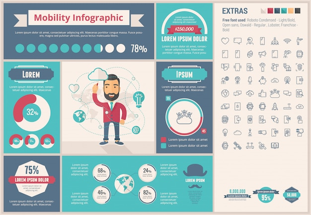 Mobilität flaches design infographik vorlage