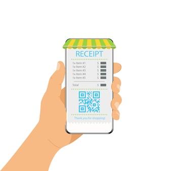 Mobilkommunikationskonzept. das telefon in der hand eines menschen. quittung zur zahlung für einen kauf in einem geschäft. empfang in der mobilen anwendung.