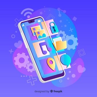 Mobiltelefon, das apps vom bildschirm projiziert