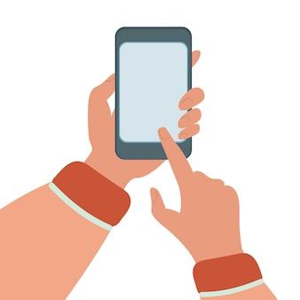 Mobiltelefon-flache abbildung eingestellt über internet-technologie smartphone in den händen