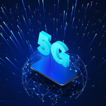 Mobiltelefon mit 5g hologramm und isometrischem banner des globalen netzwerks